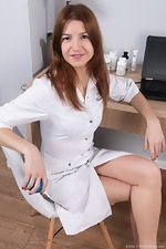 Atisha strips naked as a sexy hairy doctor