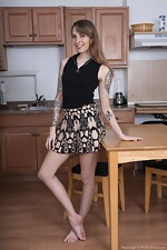 Pearl Sage strips naked in her lonely kitchen